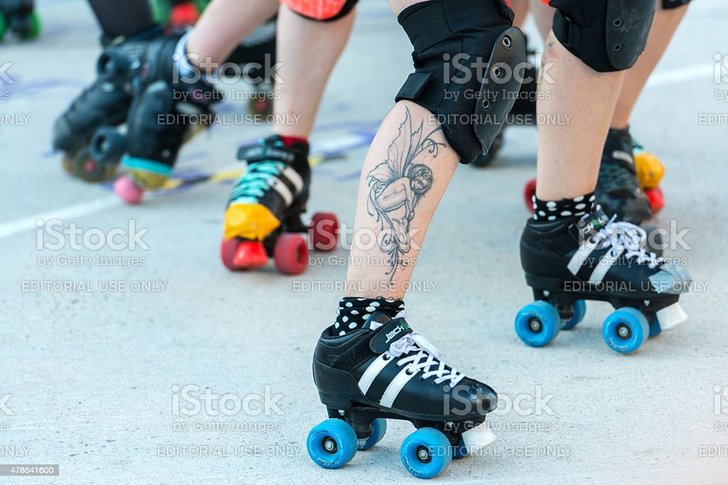 Female Roller derby competition in Madrid stock photo