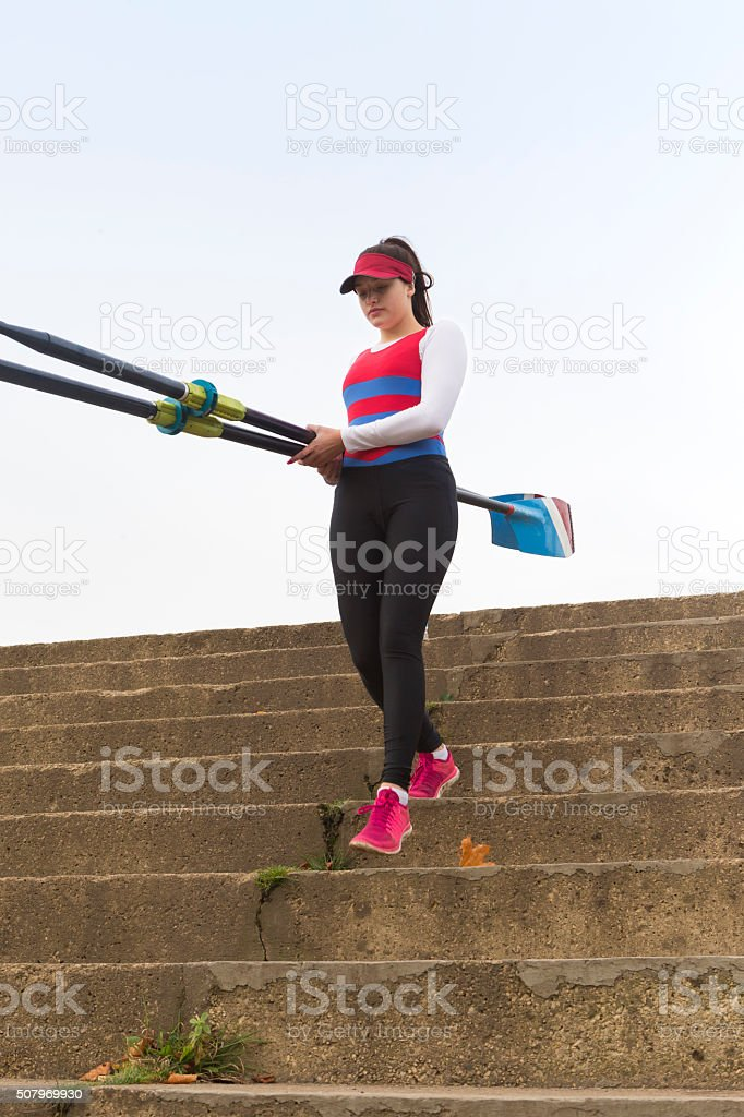 Female Rower stock photo