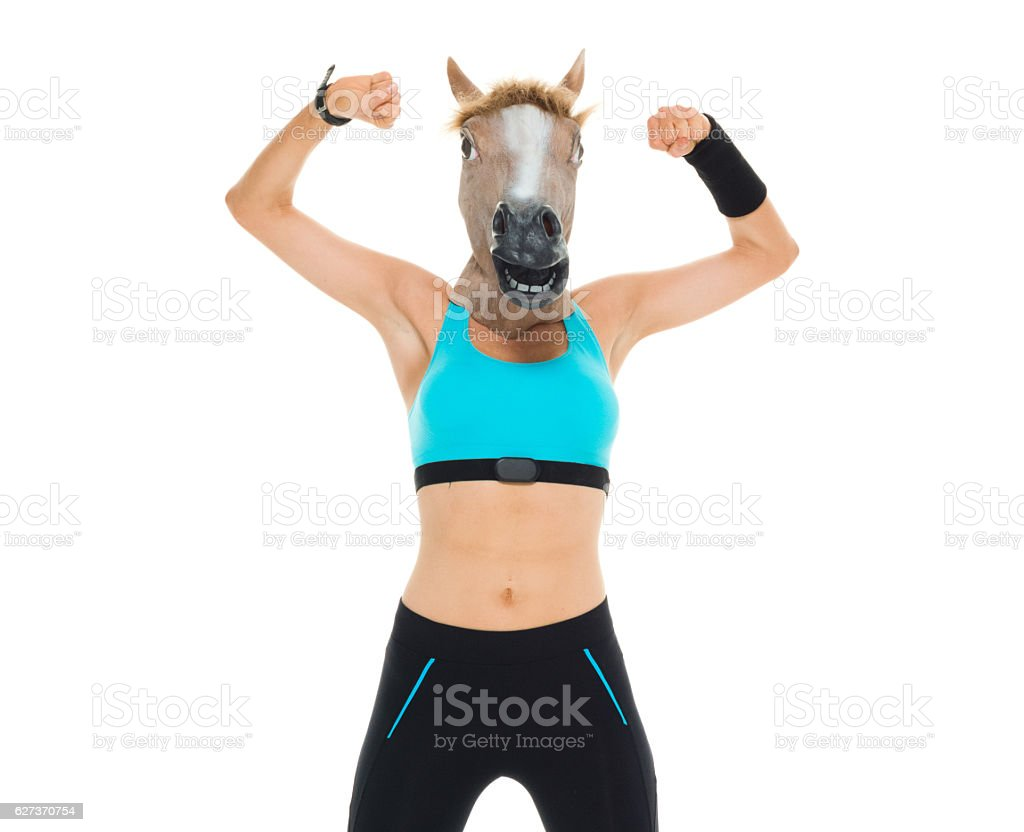 Female runner in horse costume and cheering stock photo
