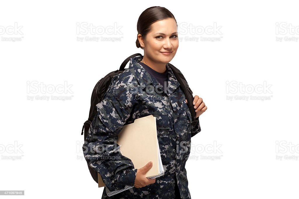 Female sailor with shoulder bag and books stock photo