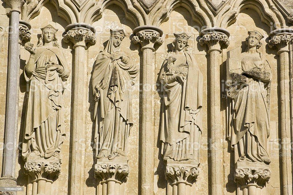Female Saints, Salisbury Cathedral stock photo