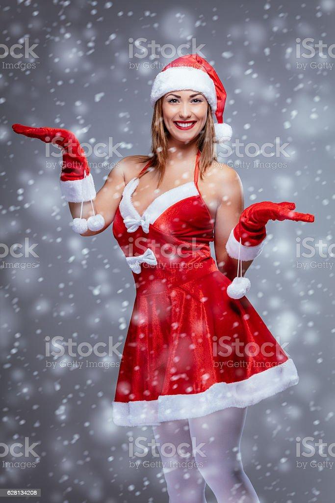 Female Santa Claus stock photo