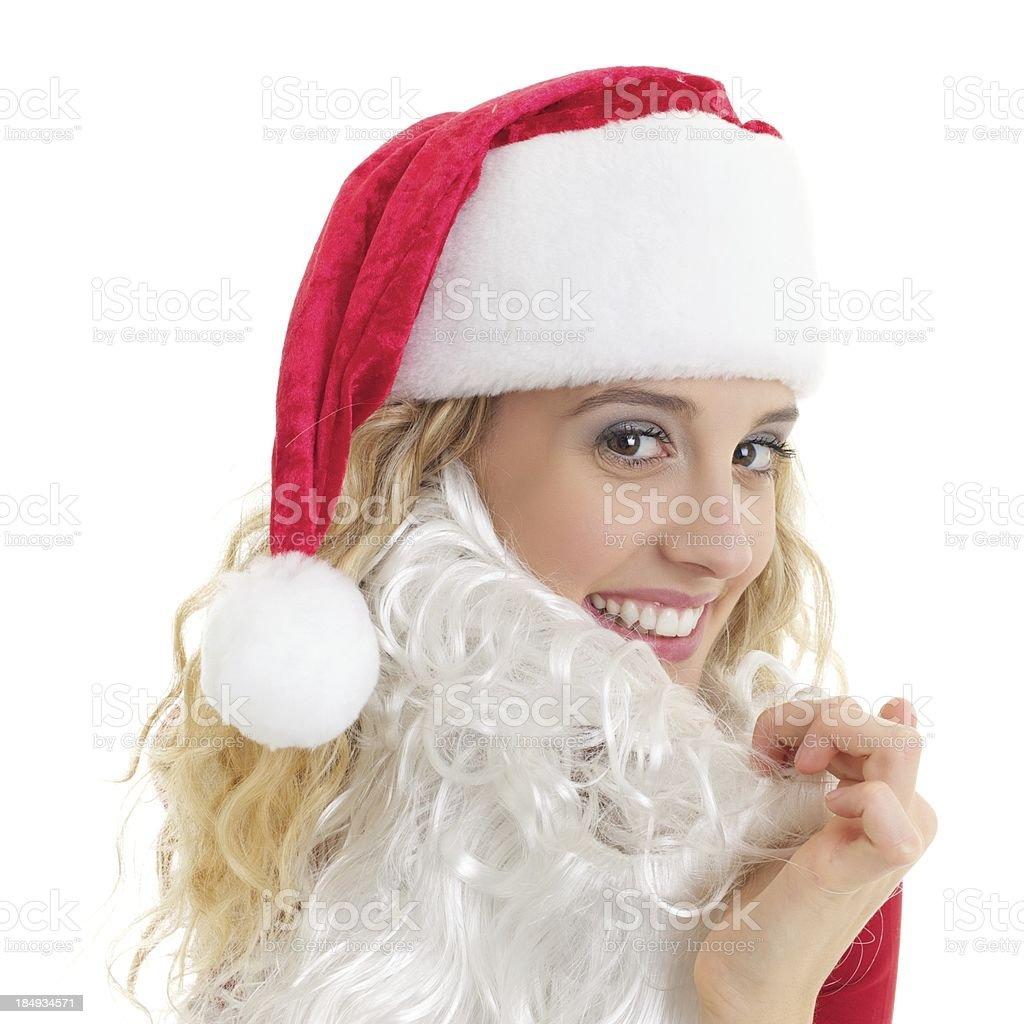 Female Santa claus with beard stock photo