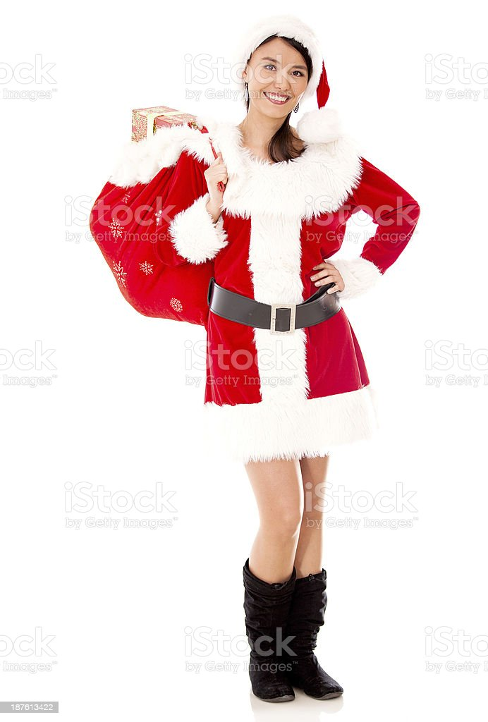 Female Santa with a gift sack royalty-free stock photo