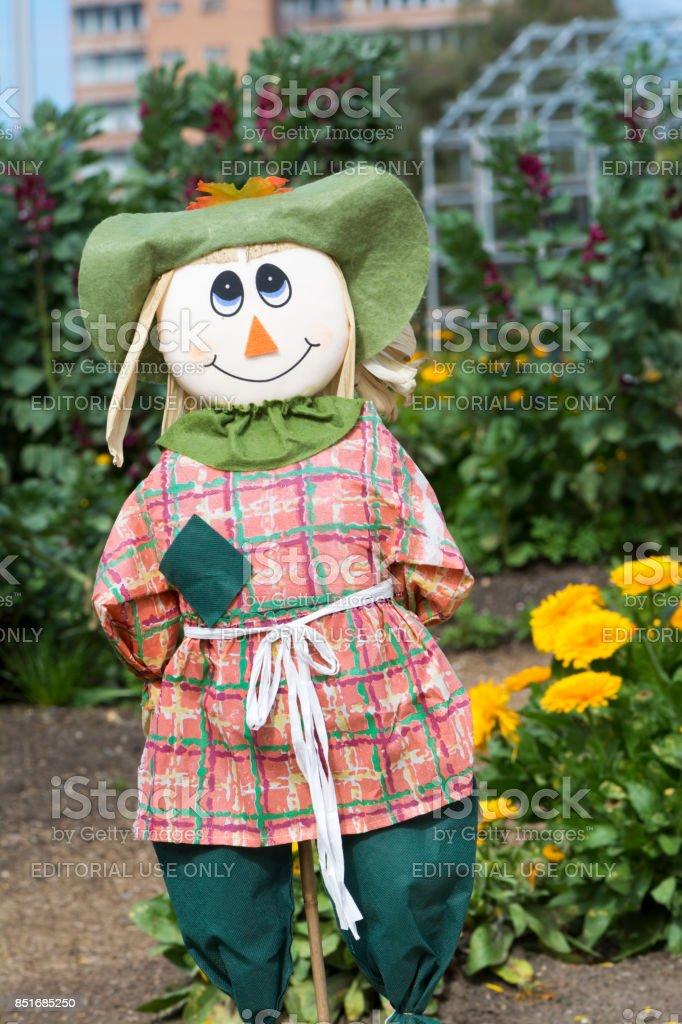 Female Scarecrow, Kitchen Garden, Adelaide Botanic Garden stock photo