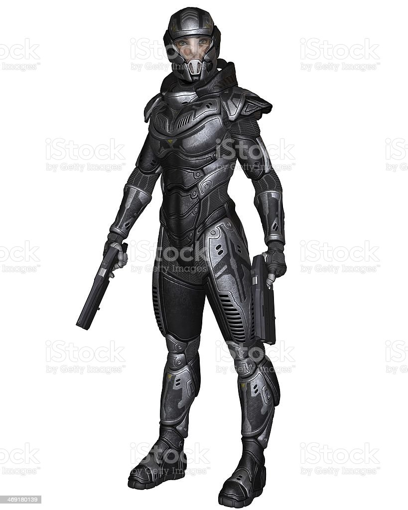 Female Science Fiction Soldier - Standing stock photo