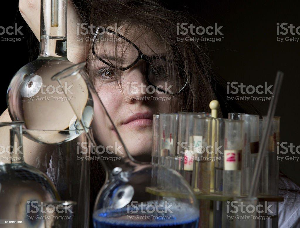 Female scientist funny stock photo