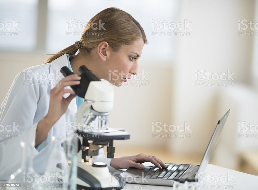 Female Scientist Using Laptop At Desk In Laboratory royalty-free stock photo