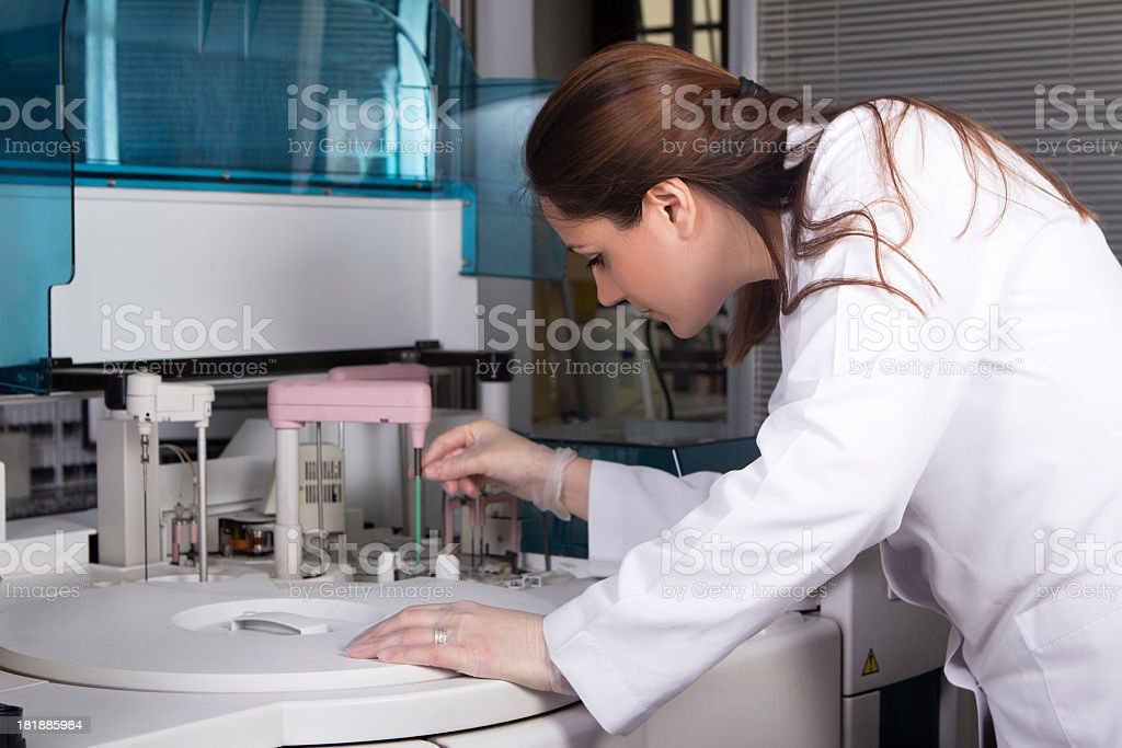 Female scientist working in a laboratory stock photo