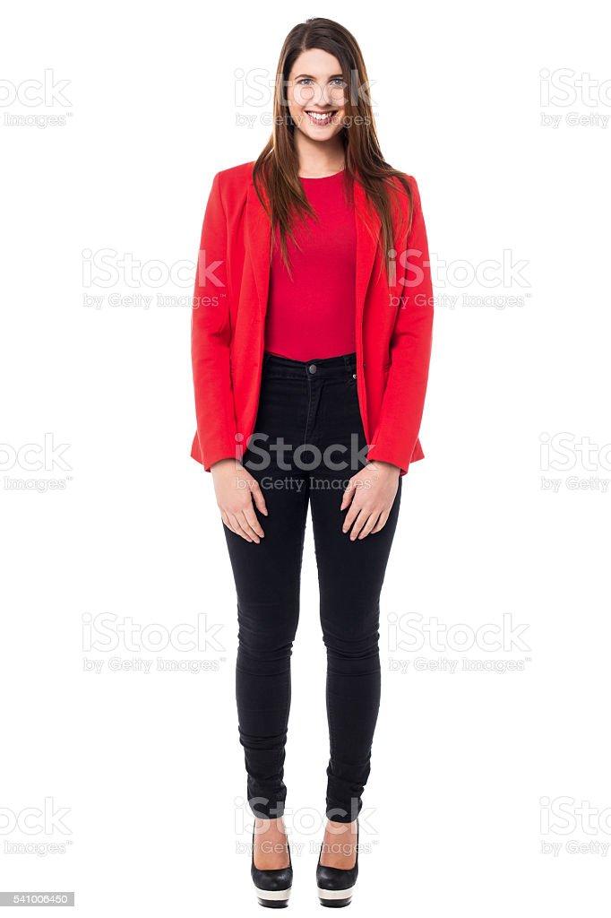 Female secretary, full length portrait stock photo