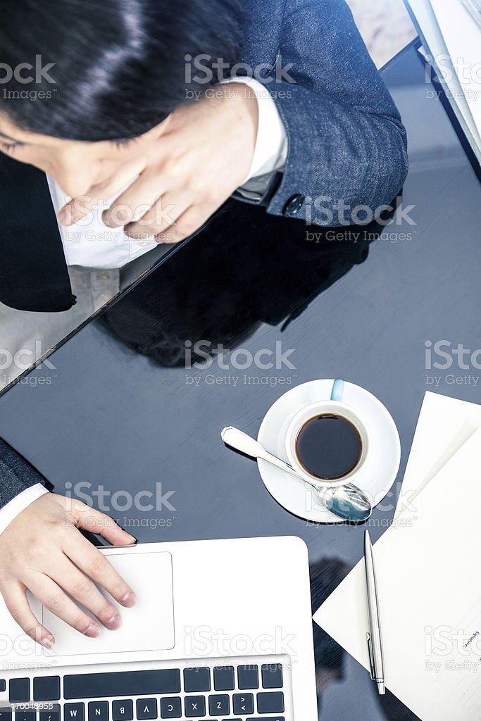 Female secretary working, coffee and documents on the table royalty-free stock photo