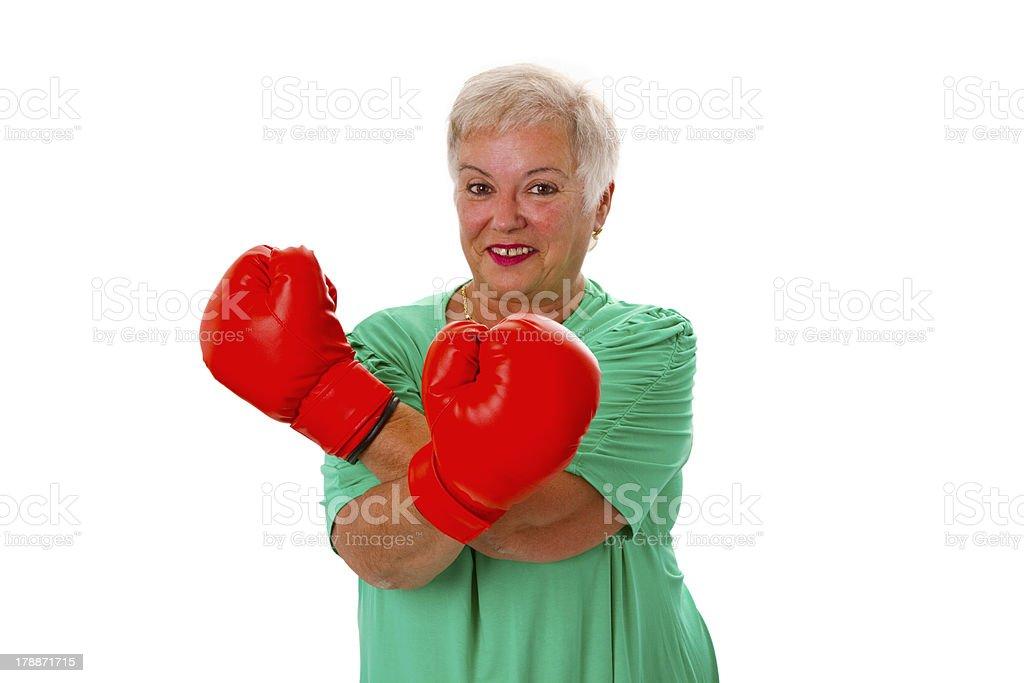 Female senior boxing royalty-free stock photo