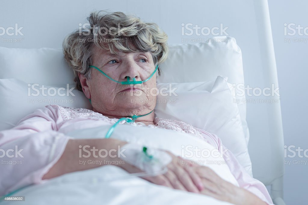 Female senior with nasal cannula stock photo
