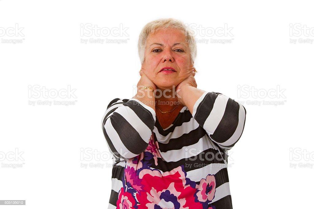 Female senior with neckache stock photo