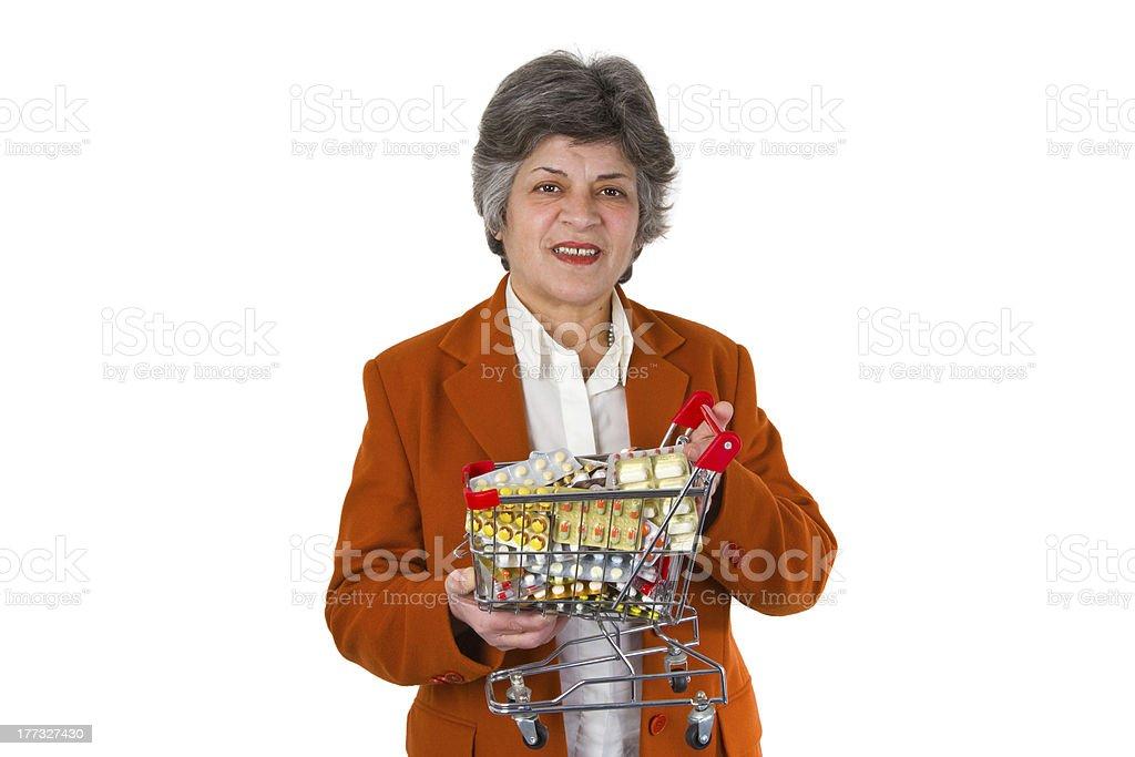 Female senior with pills royalty-free stock photo