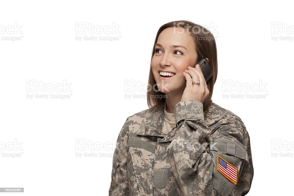 Female Serviceman on her mobile phone stock photo