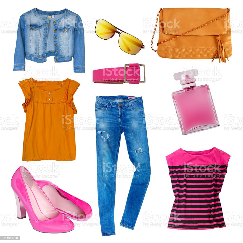 Female set collage woman's modern clothes isolated. stock photo