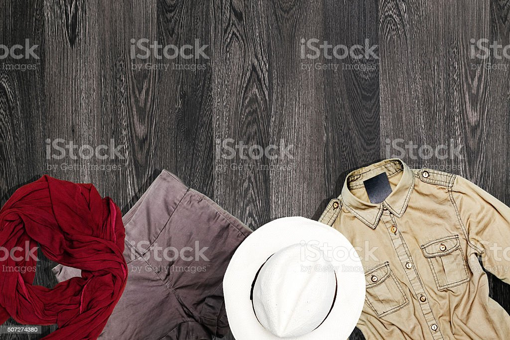 Female set of winter clothes. stock photo