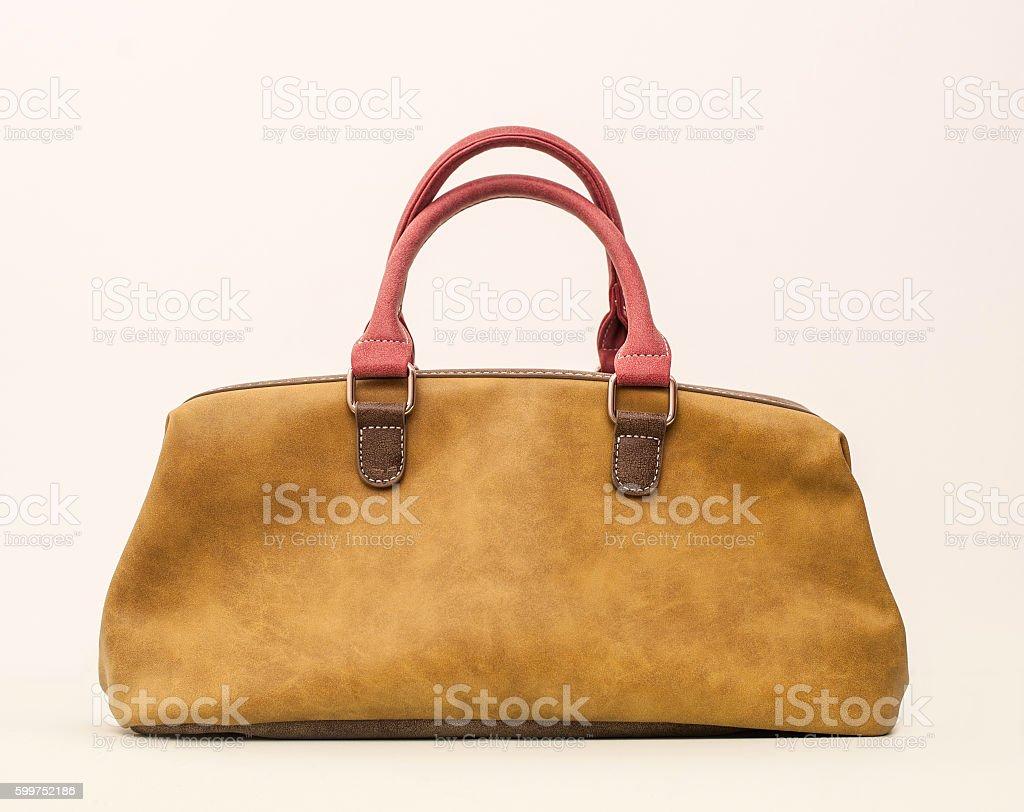 Female seude leather bag stock photo