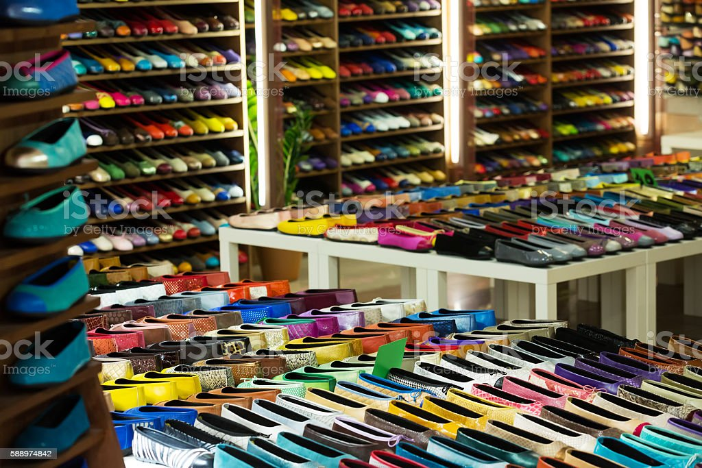 Female shoes  at  apparel shop stock photo