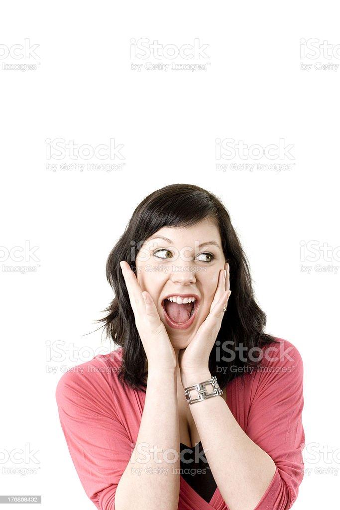 female shouting astonished stock photo