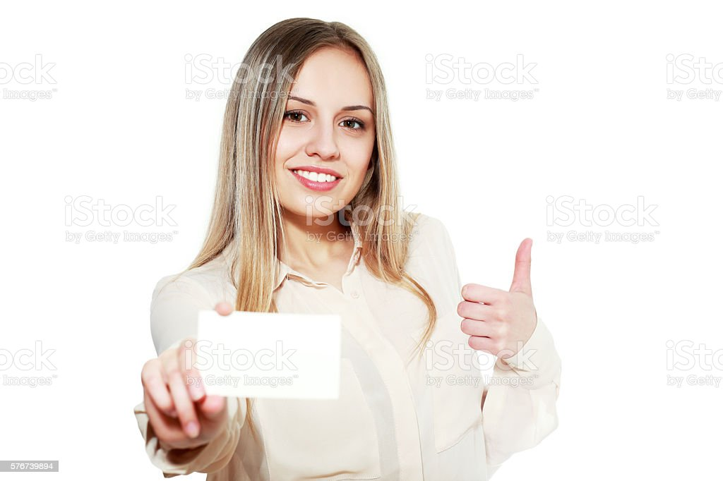 female showing blank credit card stock photo