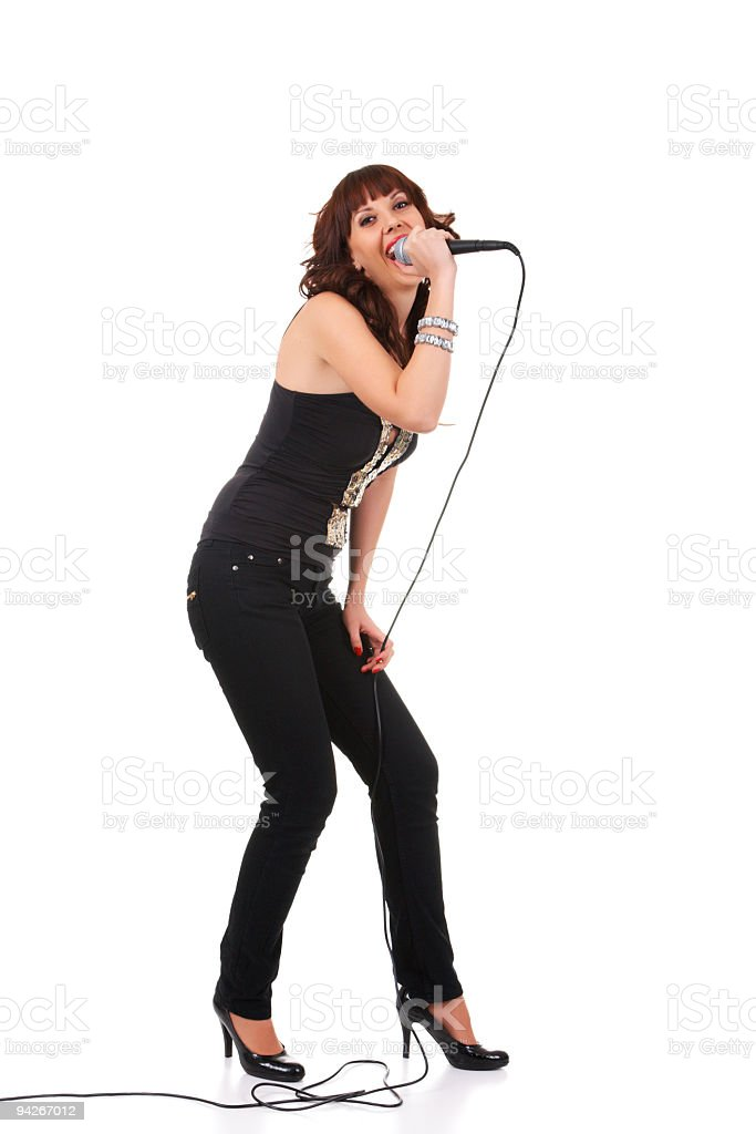 Young female holding microphone stock photo