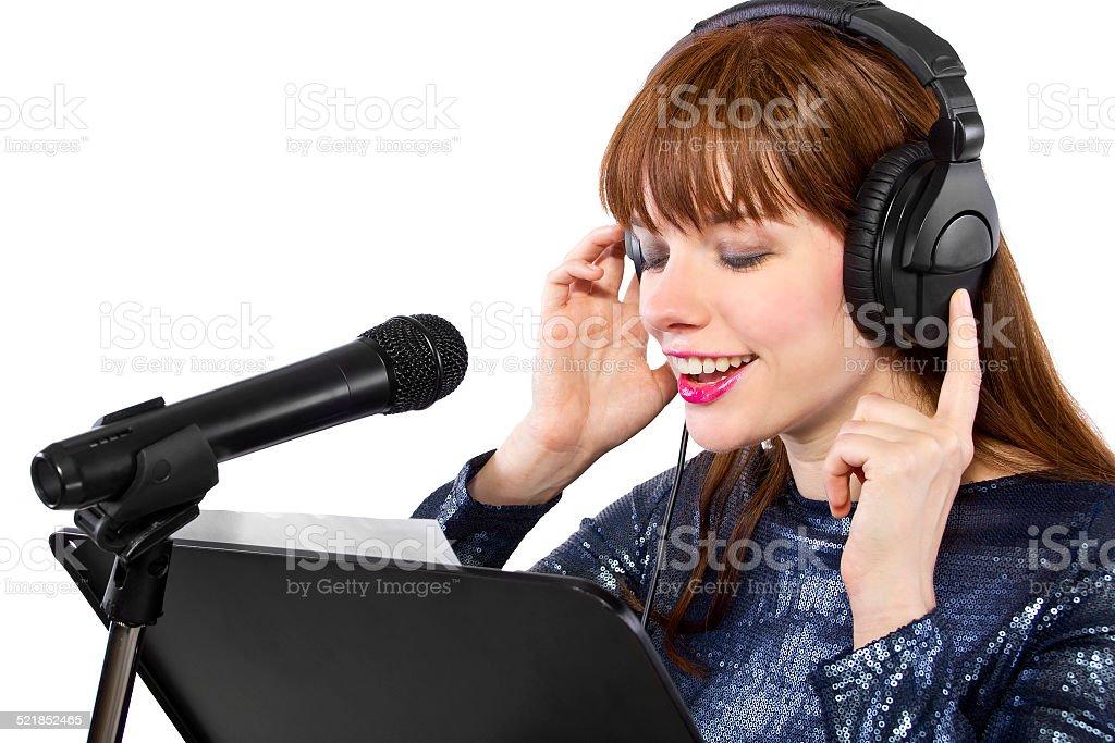 Female Singer on a White Background stock photo