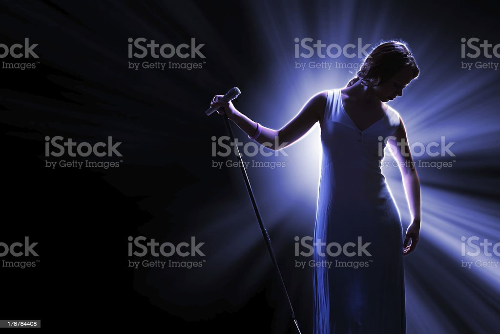 Female singer on the stage royalty-free stock photo