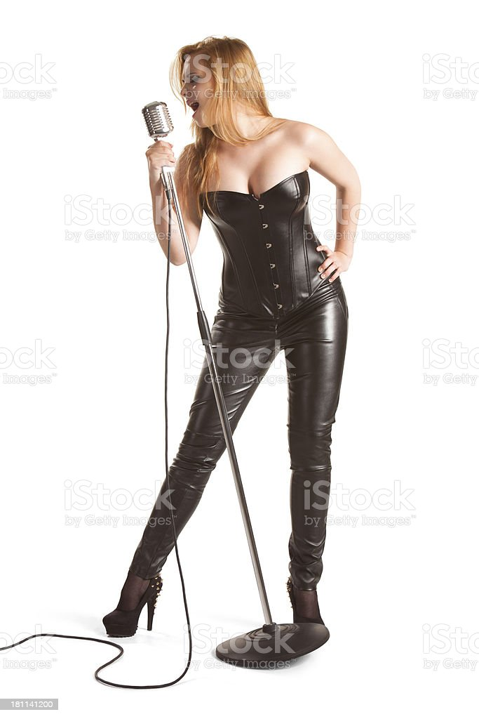 Female singer singing royalty-free stock photo