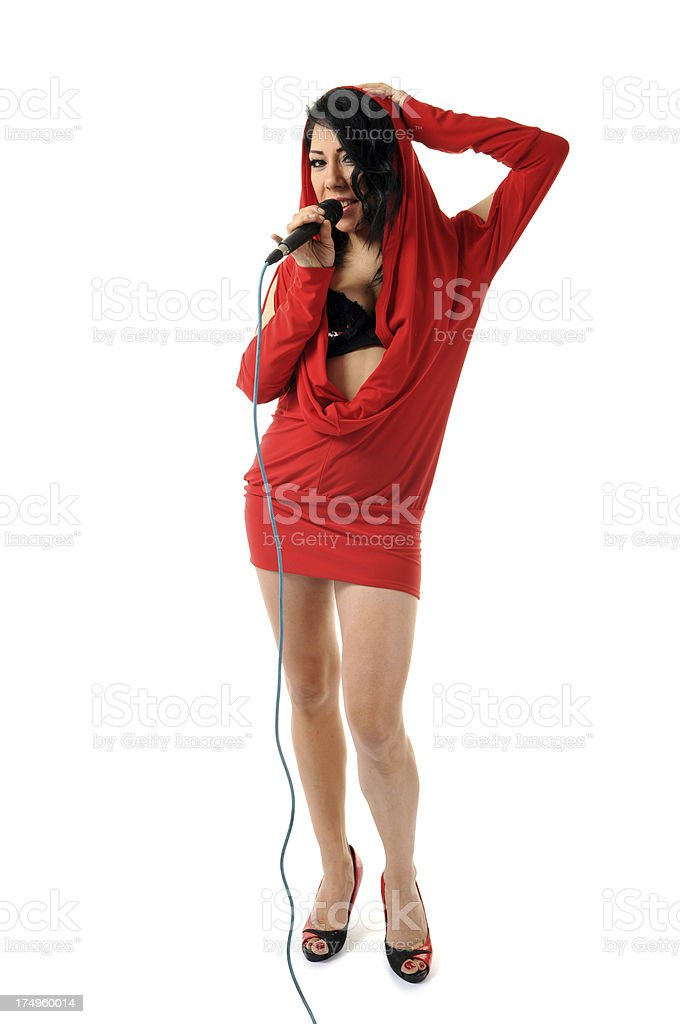 Female singing and microphone royalty-free stock photo