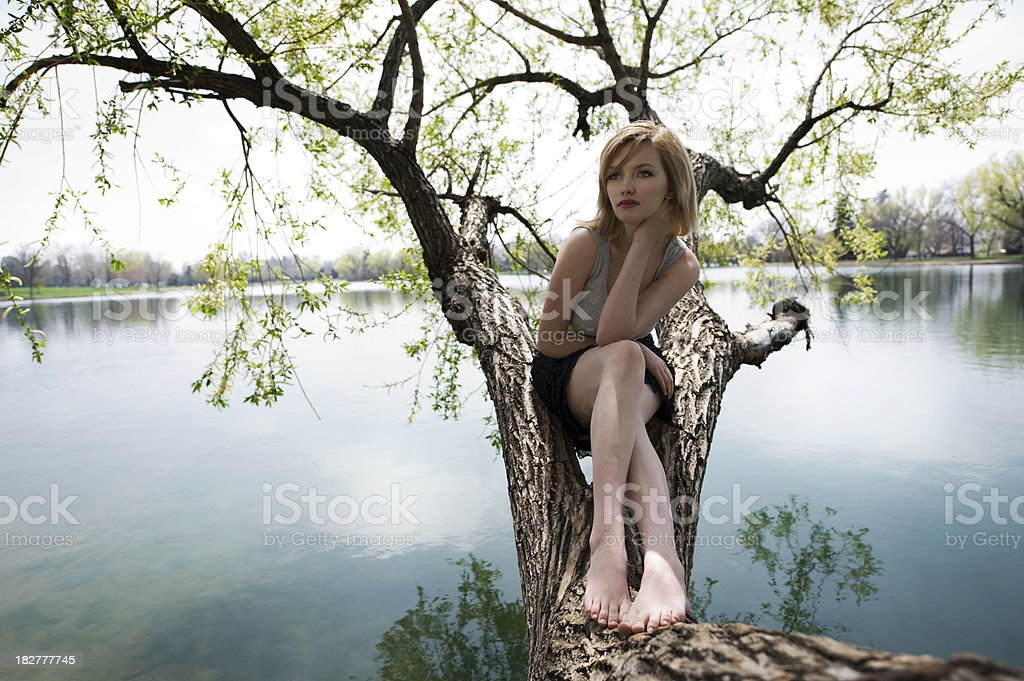 Female Sitting In Nature royalty-free stock photo