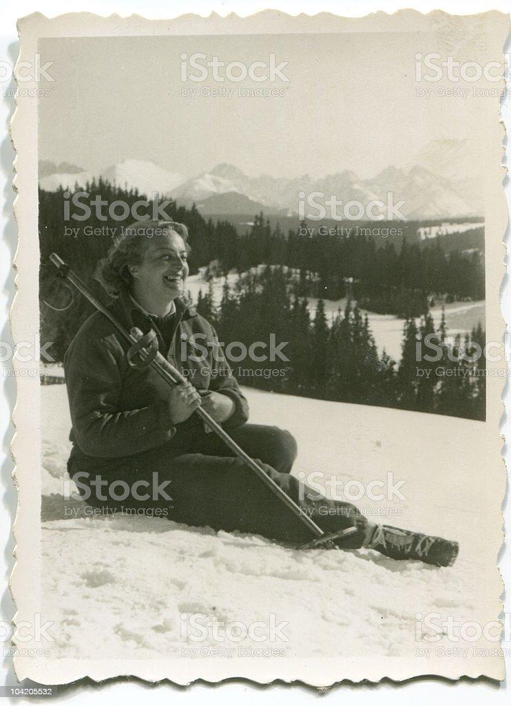 Female skier - circa 1946 stock photo