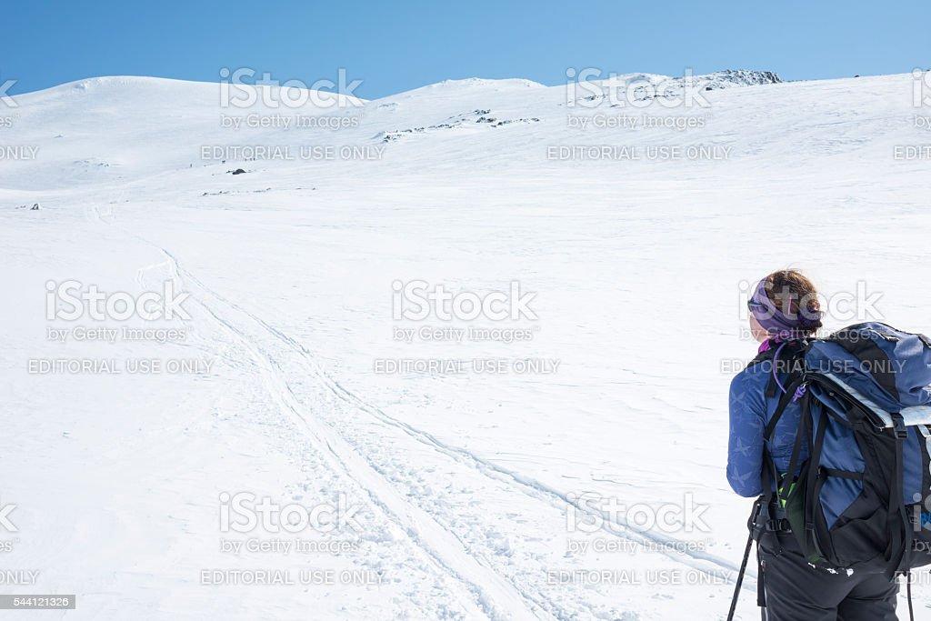 Female skier in Jotunheimen National Park stock photo
