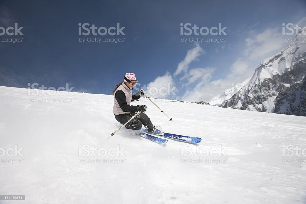 Female skier in motion royalty-free stock photo