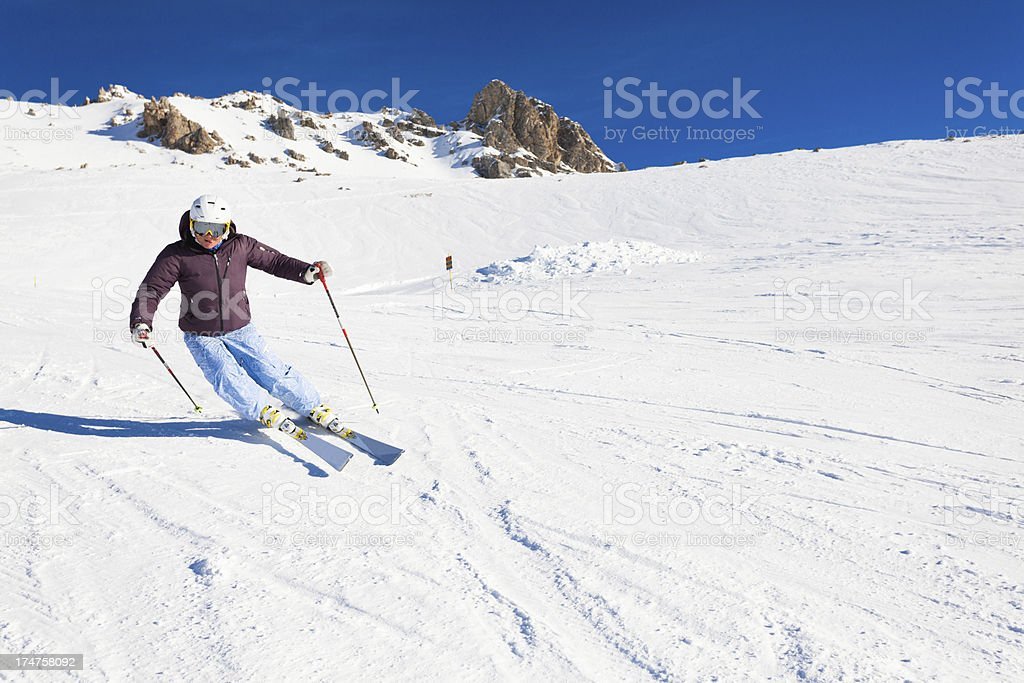 Female Skier on the Alps royalty-free stock photo
