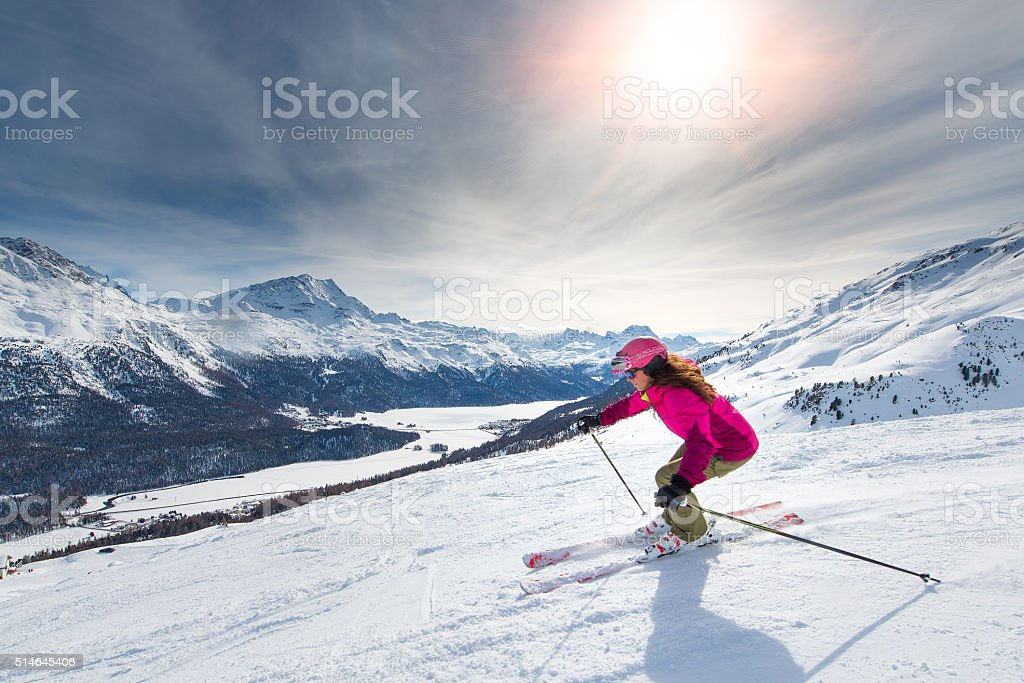 Female skier on track stock photo