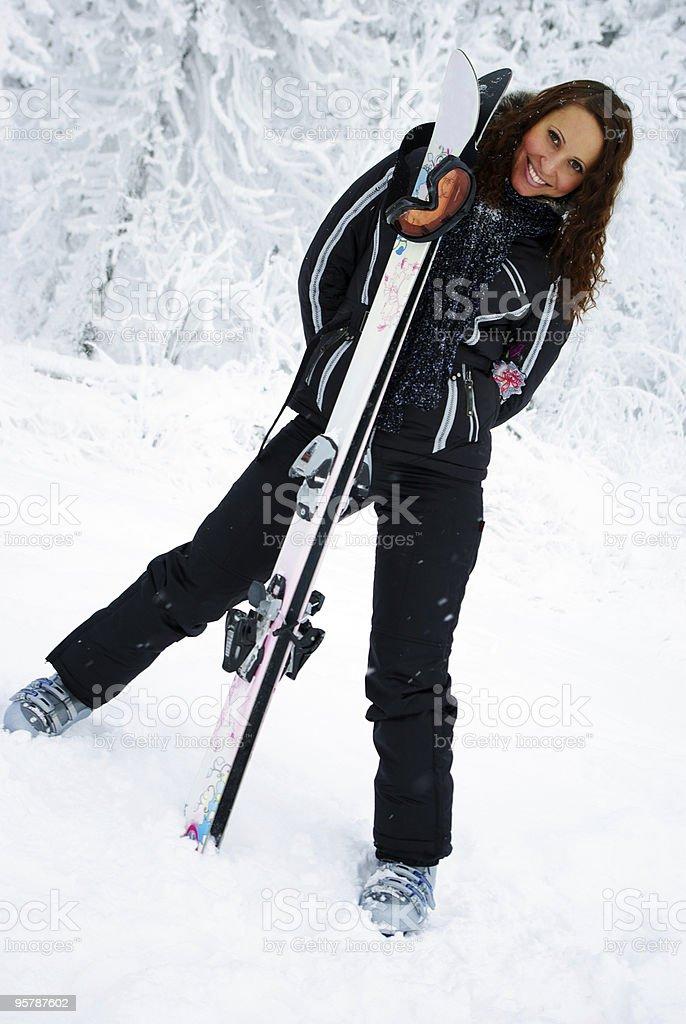 Female skier. royalty-free stock photo