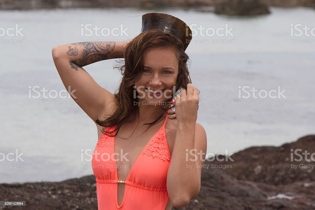Female smiling at the camera stock photo