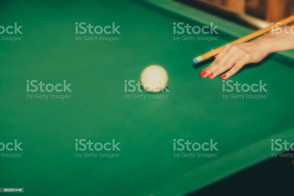 Female snooker player stock photo
