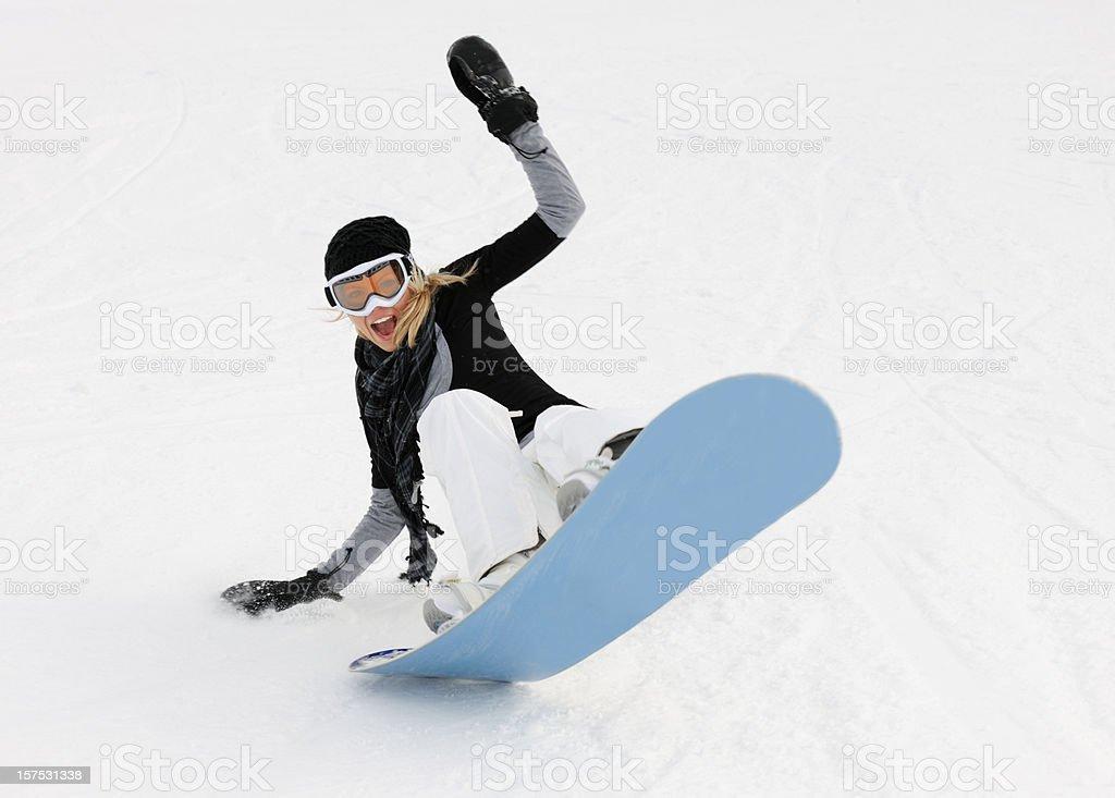 Female Snowboarder having Fun(XXXL) royalty-free stock photo