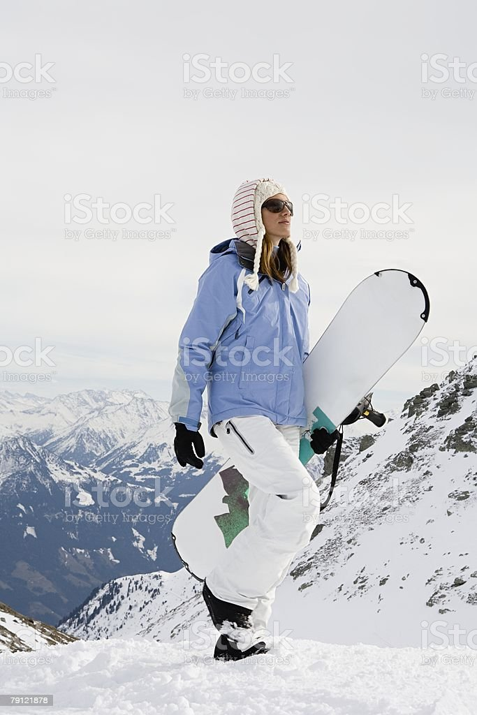 Female snowboarder royalty-free stock photo
