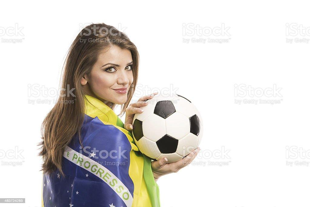 Female soccer fan royalty-free stock photo