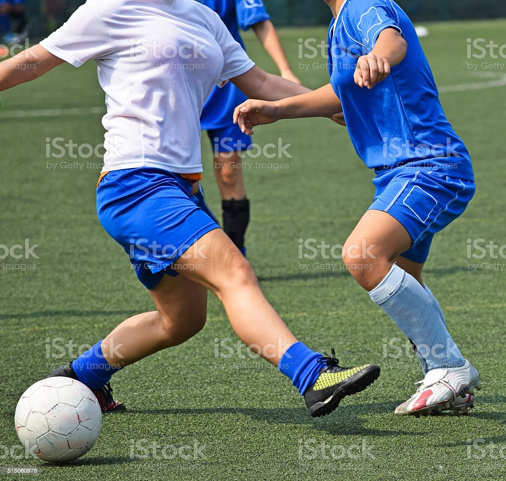Female soccer match stock photo
