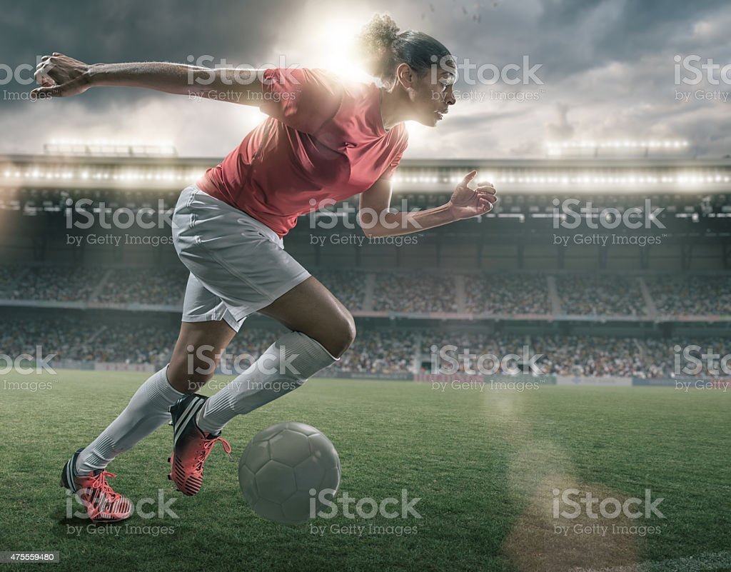 Female Soccer Superstar stock photo