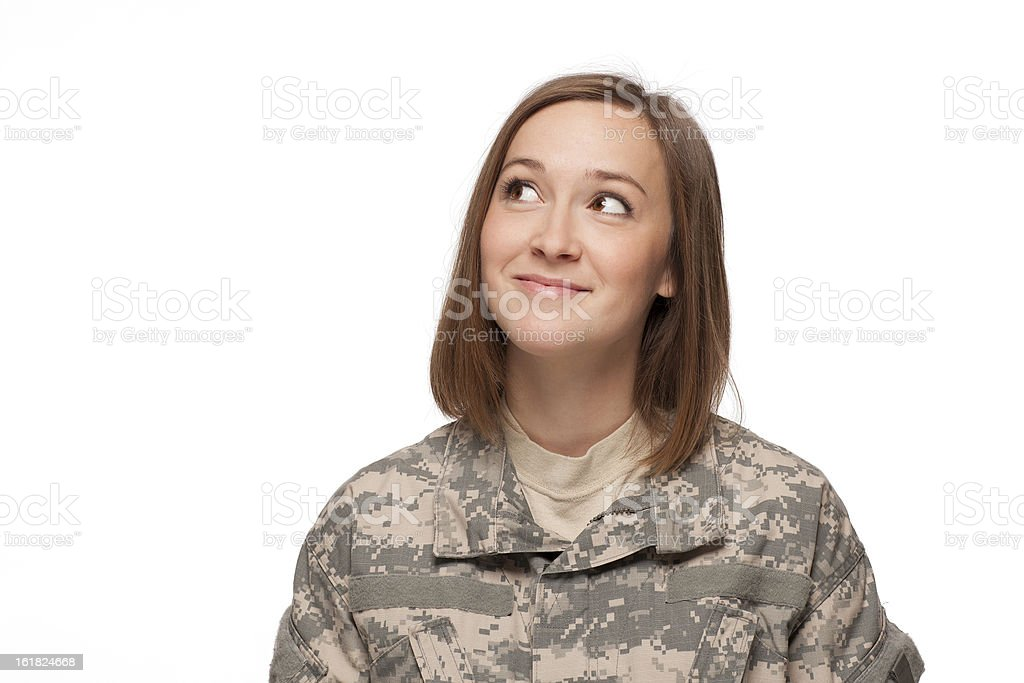 Female soldier looking up royalty-free stock photo