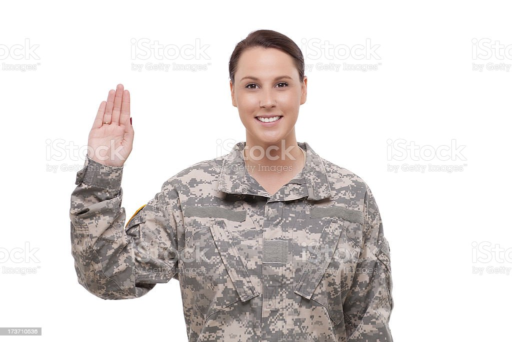 Female soldier performing oath royalty-free stock photo