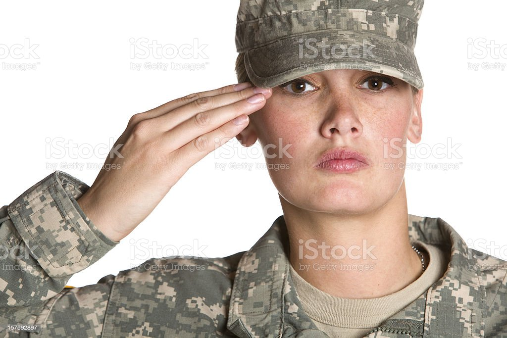female soldier saluting royalty-free stock photo