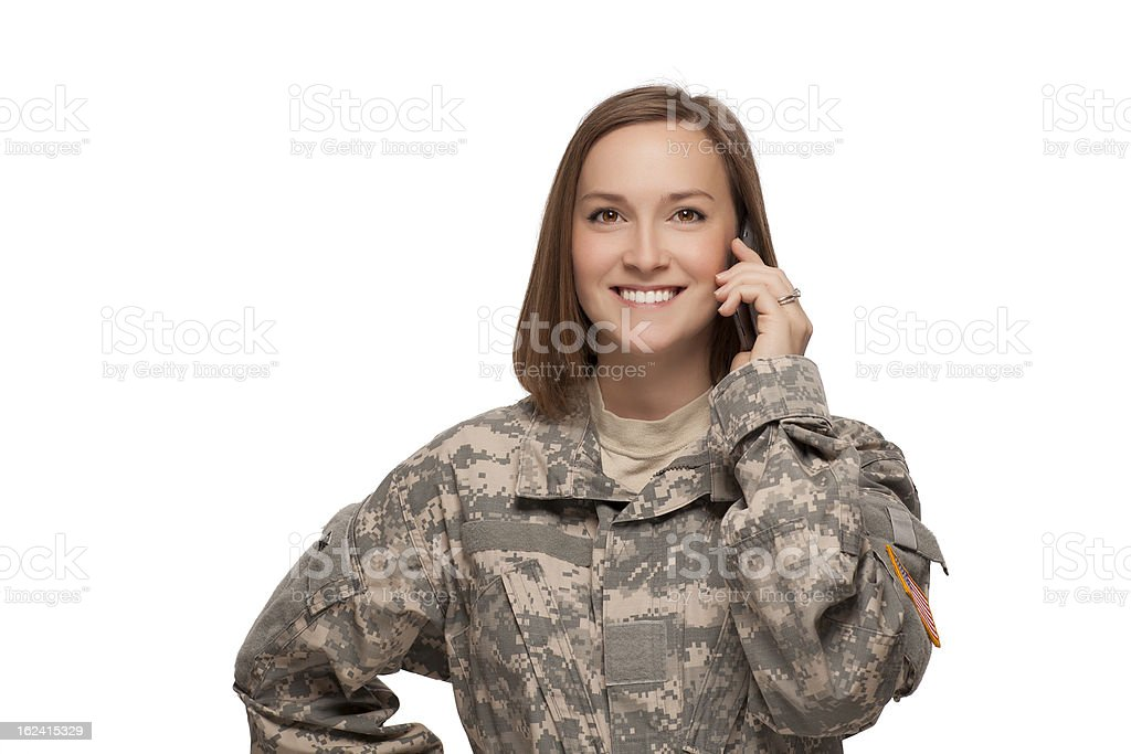 Female Soldier talking on her cell phone royalty-free stock photo