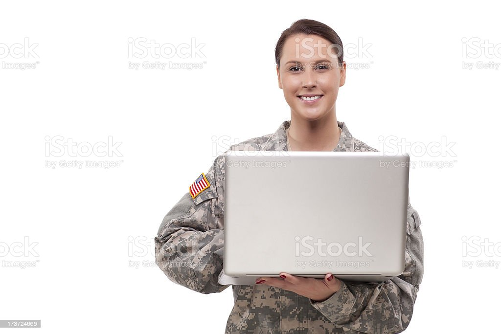 Female soldier using laptop royalty-free stock photo